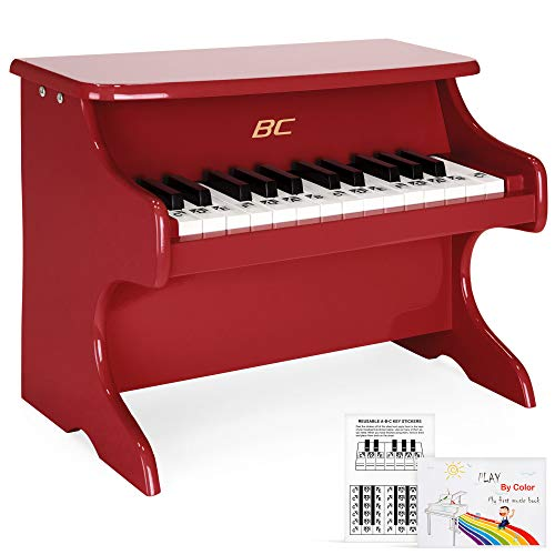Best Choice Products Kids 25-Key Wooden Learn-to-Play Mini Piano w/ Note Stickers, Music Boo - Red