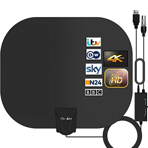 TS-ant Antenna TV Interna,Antenna HDTV Digitale Inteligente Intensificatore Amplificatore,Segnale Raggio 180KM, Applicabili ai Canali Gratuiti 1080P 4K, con Cavo Coassiale 5M