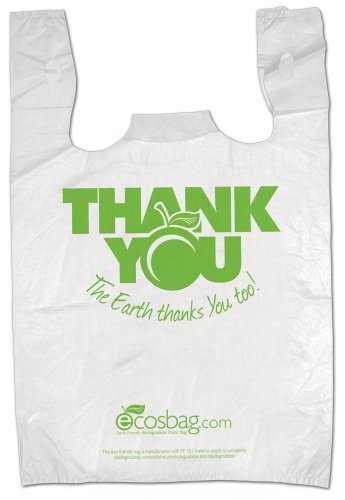 Interplas MB-T-24TK-BIO Biodegradable Pre-Printed Thank You Retail Bags, 0.65 Mil, HDPE, 21-Inch Height, 11.5-Inch Width (Case of 1000)