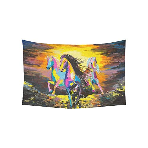 """DHFISE Tapiz Horses On A Sand Original Oil Painting On A Paper Tapestries Wall Hanging Flower Psychedelic Tapestry Wall Hanging Indian Dorm Decor For Living Room Bedroom 80"""" X 60"""" Inches"""