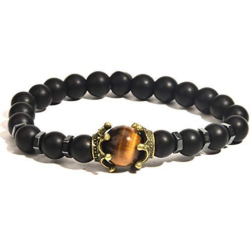 Volcanic stone bracelet agate men's bracelet tiger eye stone crown bracelet jewelry-Matte