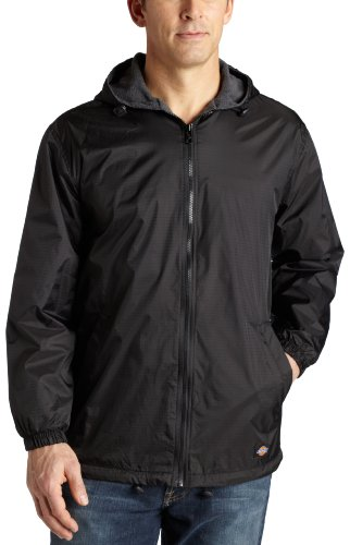 Dickies Men's Fleece Lined Hooded Jacket, Black, Large