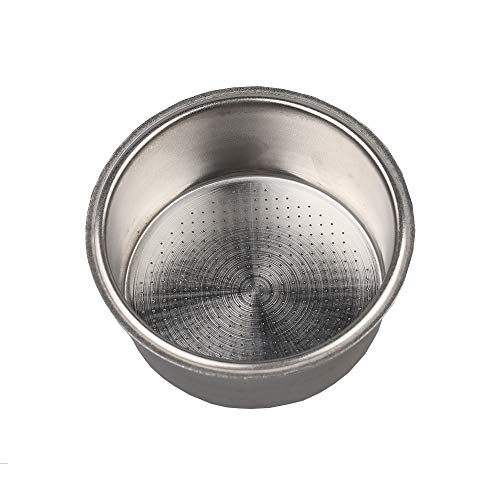 Stainless Steel Coffee Filter, Double Cup Coffee 51mm Single Wall non-pressurized Porous Filter Basket, Please check the size carefully