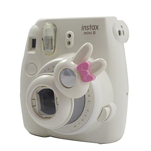 Anter Cerrar Lente con Instax Lente Selfie para Fujifilm Instax Mini 9 Mini 8 Mini 8+ Mini 7s Cámara Instantánea de Cine - Conejo Blanco