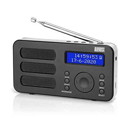 Radio Portátil Digital Dab/Dab+/FM – August MB225 – Radio Pequeña con Batería Recargable - Dual Alarma Despertador Snooze RDS 40 Presintonias Pantalla LCD Radio Estéreo/Mono