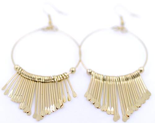 Lizzyoftheflowers - Egyptische stijl goudkleurige kroonluchter dangle oorbellen