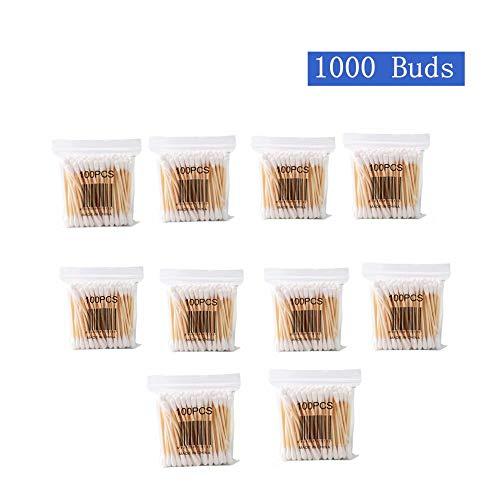 Coton Tiges 10 Paquets 1000 Pièces Bourgeons de Coton en Bambou pour Outil de Nettoyage pour Soins de Nettoyage des Oreilles Soin des Blessures Outil Cosmétique Biodégradables Double Tête-huichang