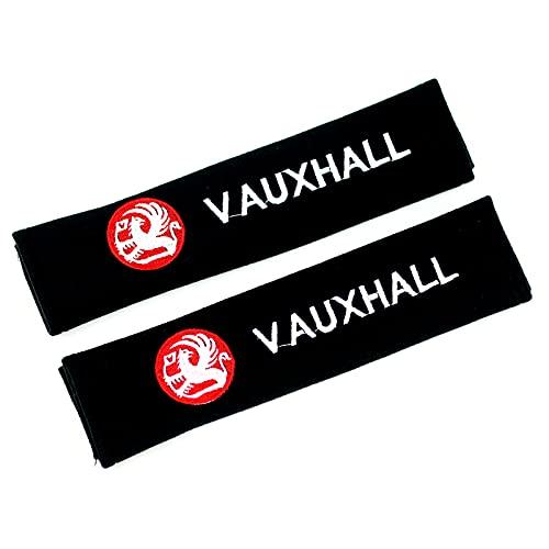 ONETOOSE 2 Fundas para CinturóN De Seguridad para Hombreras, Negras, con Logotipo Bordado, Funda Protectora para CinturóN De Seguridad, para Vauxhall Logo