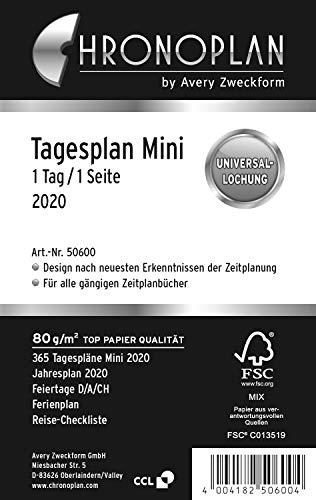 Chronoplan 50600 Kalendereinlage 2020 (Tagesplan Mini (79 x 125 mm), Ersatzkalendarium, ideal für detaillierte Tagesplanung, Multilochung (1 Tag auf 1 Seite)) weiß