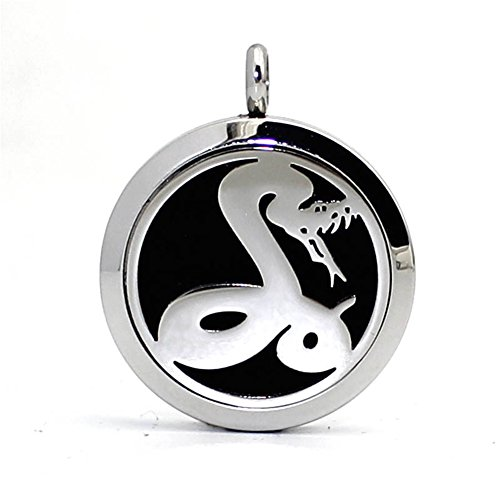 GIONO Stainless Steel Pet Love Snake Aromatherapy Essential Oil Diffuser Necklace Carving Locket Pendant,10 Felt Pads