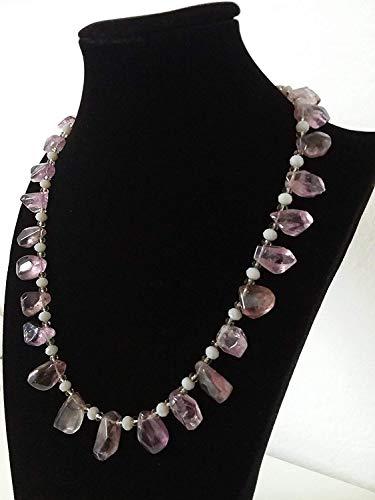Collar morado, lila, gris - gargantilla hecha a mano - piedras semipreciosas - amatista - idea de regalo de mujer