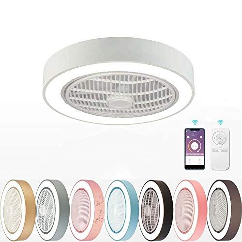 Ventilatore a Soffitto Con Lampada, LED Lampada a soffitto plafoniere Invisibile Creativo Ultra-silenzioso Telecomando APP mobile Dimmerabile 80W 55cm per Soggiorno Camera da Letto-Bianca
