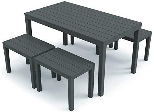 Tomaino Tavolo e sedie da Giardino in plastica Effetto Legno (Antracite)