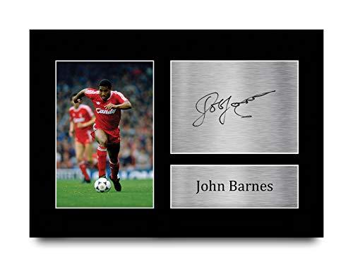HWC Trading Imagen A4 de John Barnes Liverpool Gifts con autógrafo impreso para aficionados y seguidores, A4