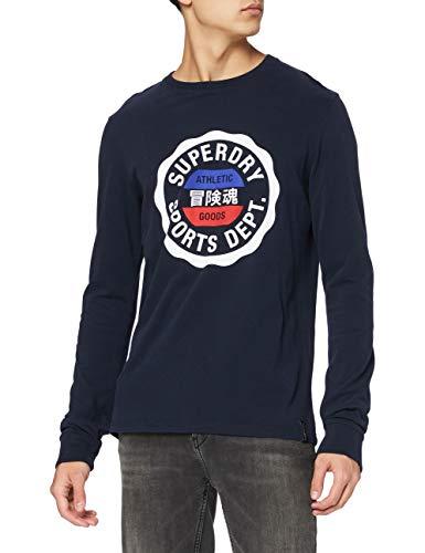 Superdry Vintage Sport LS Top Camiseta, Eclipse Navy, XL para Hombre