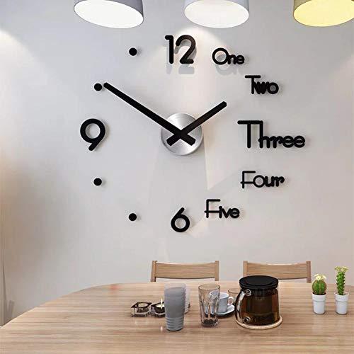 youngfate Grande Orologio da Parete DIY Adesivi per Orologio da Parete Moderni 3D Design Moderno Orologi da Parete in Acrilico Decorazione Murale Home Office Decor (Nero)