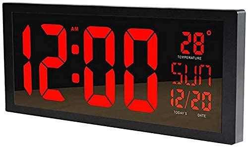 Reloj de Pared LED Grande Smart Digital con termómetro Calendario Alarma Temporizador de Cuenta Regresiva Silenciador para Colgar para la Oficina en casa Gimnasios The Mall Hospital Subway,Rojo