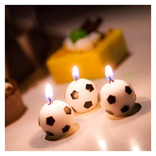 Rongshengxinye Candela per aromaterapia, 6 pezzi, con palline da calcio, per feste di compleanno, per bambini, decorazione per matrimoni, giardino, feste, torte (dimensioni: 6 pezzi)
