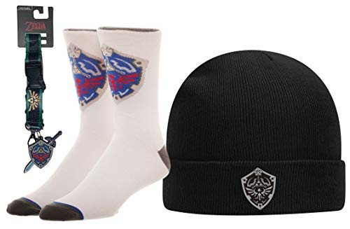 The Legend of Zelda Twilight Princess Shield Knit Beanie Hat with Crew Sock and Lanyard Gift Set Black