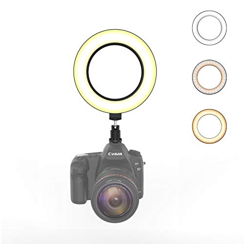On-Camera Ring Light with Hot Shoe Mount, Camera Video Lights for Canon Nikon DSLR Camera, 6 Inch Dimmable Led Ring Light Without Stand, Lighting Replacement for Cameras Tripod