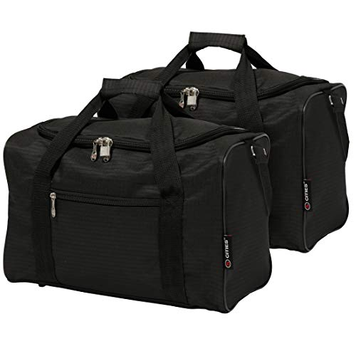 5 Cities 40x20x25 New and Improved 2020 Ryanair Maximum Sized Under Seat Cabin Holdall Travel Flight Bag – Take The Max on Board! (2X Black)