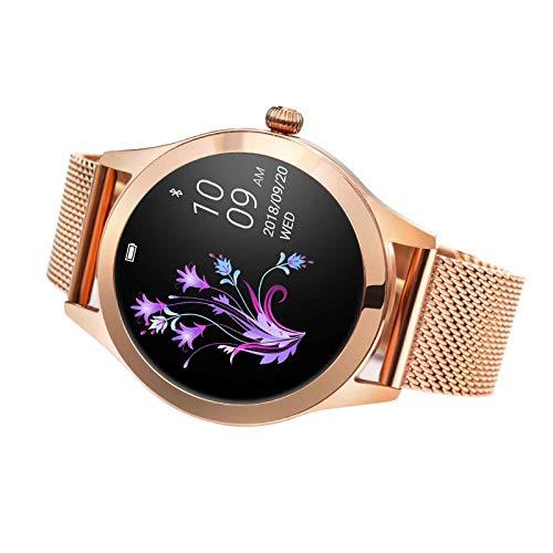 XQTEI Reloj Inteligente de Pantalla Redonda para Damas, IP68 a Prueba de Agua, podómetro Deportivo, recordatorio Inteligente, recordatorio sedentario, Reloj de monitoreo de frecuencia cardíaca