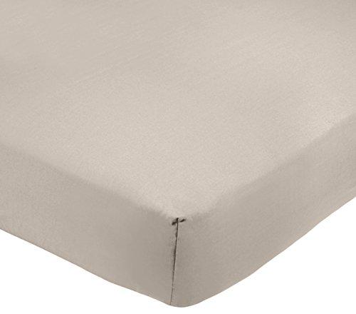 AmazonBasics - Sábana bajera ajustable (polialgodón 200 hilos) Gris - 135 x 190 x 30 cm