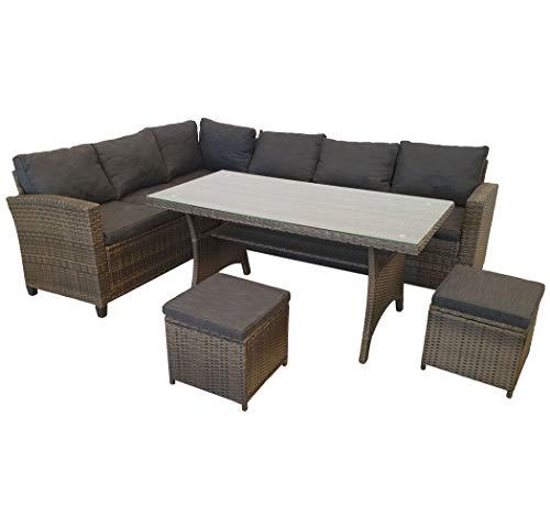 KMH, große naturbraune Polyrattan Gartensitzgruppe Lounge Esstisch Sofa Ottomanen Hannover inklusive Auflagen und Kissen (#106418)
