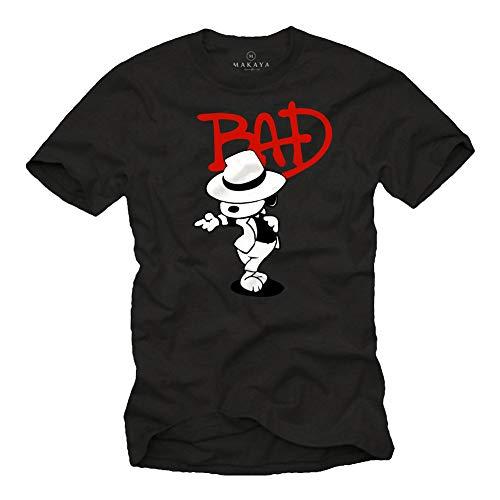 MAKAYA Camiseta con Perro Bailando - Bad - Snoop Jackson Negro Talla M