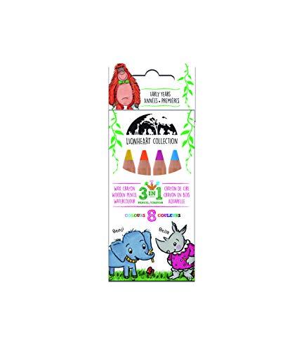 Manuscript Lionheart 3-in-1 potlood - Acht dikke houten kleurpotloden die gemakkelijk te pakken zijn en perfect zijn voor kleine handen - de ideale 1St kleurpotloden voor jonge kinderen.