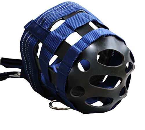 AMKA Maulkorb Fressbremse für Pferde mit Gummieinsatz, Kopfstück stufenlos verstellbar, dunkelblau