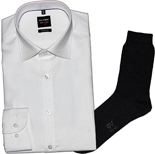 OLYMP Herrenhemd Level Five, Body fit, Under Button-Down, weiß, Diamant Twill + 1Paar hochwertige Socken, B&le