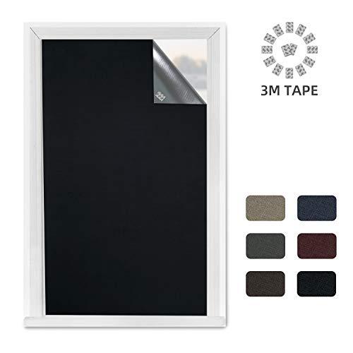Greatime 100% Blackout Blind para Ventana,Cortinas Opacas Portátiles Pegamento con 3M, Puede reflejar la luz, el Calor y Reducir el Ruido (1.5x1.85M Negro)