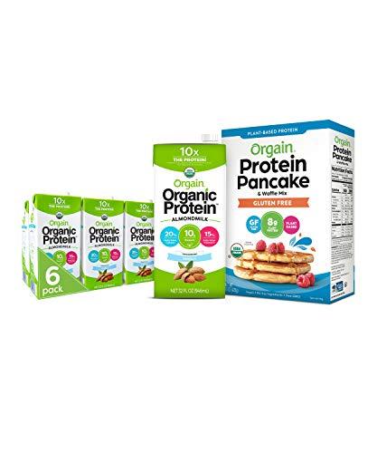 Orgain Bundle  Protein Pancake amp Waffle Mix Gluten Free and Unsweetened Vanilla Almond Milk 6 Pack  Vegan NonGMO