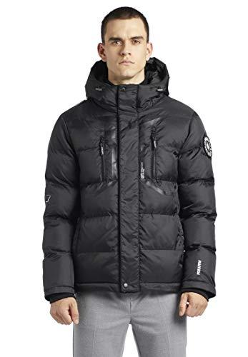 khujo Herren Jacke Blink mit Kapuze Schwarze Steppjacke Winterjacke mit vielen Taschen