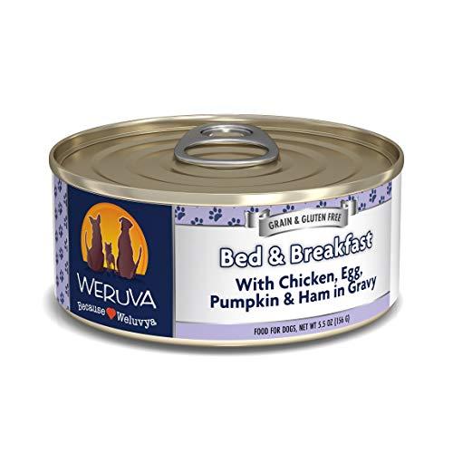 Weruva Classic Dog Food, Bed & Breakfast with Chicken, Egg, Pumpkin & Ham in Gravy, 5.5oz Can (Pack of 24), Blue