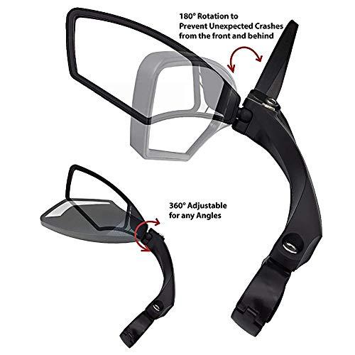 Dilwe Fahrrad Rückspiegel für Lenker, Edelstahl Fahrradspiegel, verstellbar, 360° Drehungsüberprüfung, Rückspiegel für 22,2 mm Rennrad Mountainbike, Links, rechts - 6
