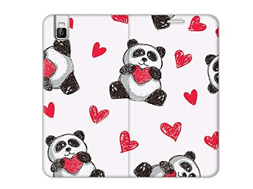 etuo Handyhülle für Huawei Shotx - Hülle, Handy Flip Hülle Flex Book Fantastic - Panda mit Herz