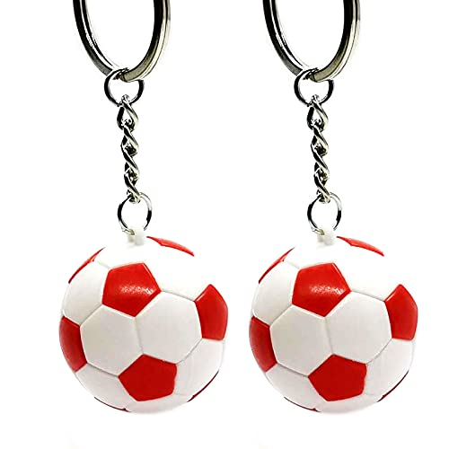 Asdf586io Cute and Charm Keychains, Vibrant Color Water-proof ABS School Carnival Reward Soccer Keychain for Bag Wallet Decor, Kids Gift, 2 Pcs - Red