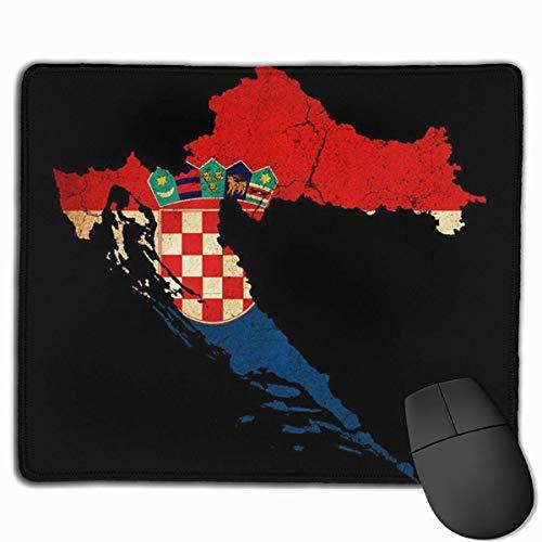 Kroatië Kaart Omtrek Vlag Gepersonaliseerd Ontwerp Muis Pad Gaming Mouse Pad met gestikte randen Mousepads, Antislip Rubber Base, 9.8x12 Inch, 3mm Dikke - Beste Gift Idee