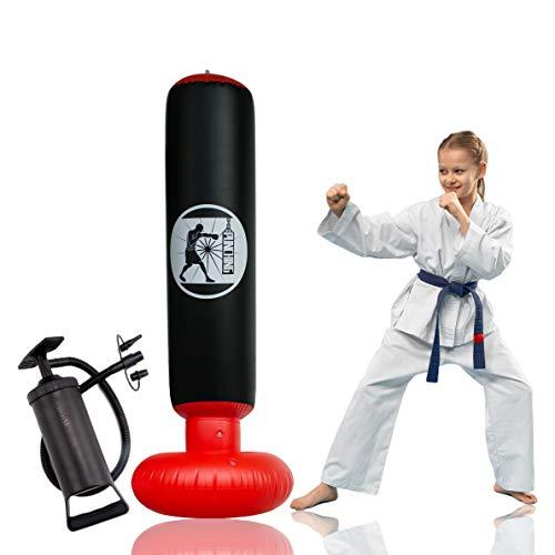 Senston Boxsack Standboxsäcke Aufblasbarer Freistehender Standboxsack für Kinder, Jugendliche Punching Tower mit Pump