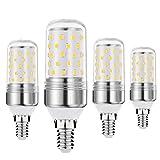 Bombilla LED E14 regulable BOGAO, 12W, equivalente a bombillas de 80-100 vatios, base E14, luces LED de 1200 lúmenes, blanco (6000K, 4 piezas)