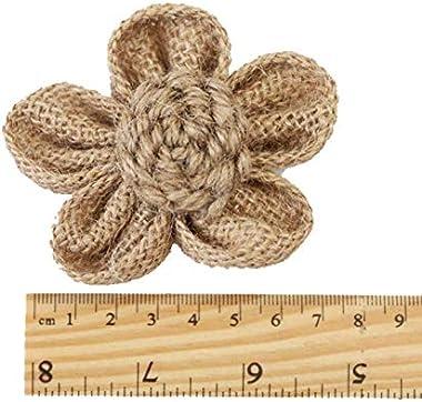 Wisilan Lot de 6 fleurs en toile de jute faites à la main pour travaux manuels, mariage, décoration d'intérieur (marron)
