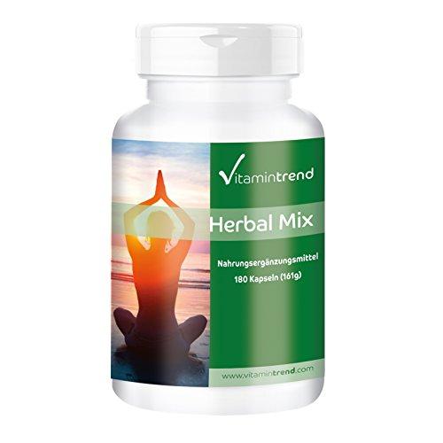 Herbal Mix – 180 cápsulas – Extractos de plantas con Vitamina B6, B12 y Ácido fólico