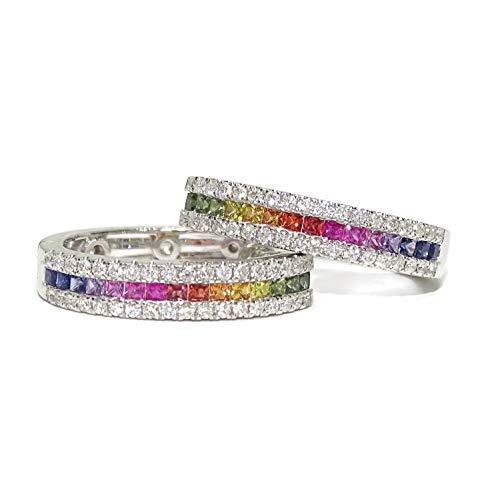 Splendidi orecchini da donna con 72 diamanti autentici e 32 zaffiri colorati certificati montati in oro bianco 18 k con chiusur