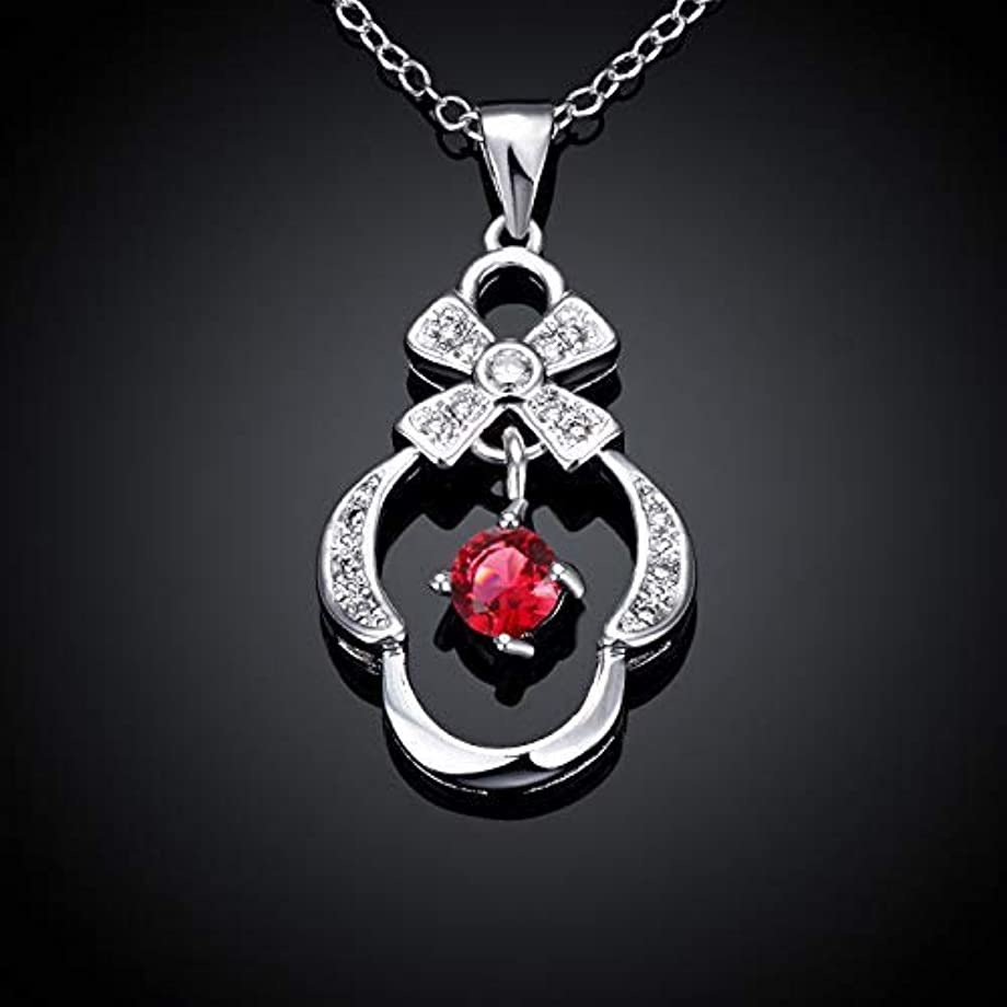 寂しい温度計消すペンダントネックレス ファッションジルコンシルバーメッキ鎖骨ネックレス(カラー:パープル) (色 : Red)