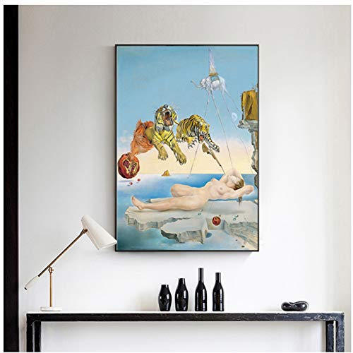 A&D Salvador Dali Tiger, Elefant, Mädchen Leinwand Malerei Surrealismus Abstrakte Kunst Wandbilder Drucken Für Wohnzimmer-50x70 cm Kein Rahmen
