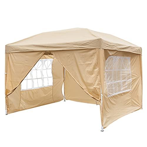 KUAIE Canopy PERGOLA, práctico Impermeable Rectangular al Aire Libre portátil, Adecuado para la Barra de jardín al Aire Libre de campaña en el Patio, Dos Ventanas de Dos Puertas, 3x3m de Khaki