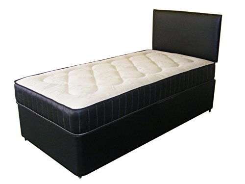 Just Beds Leather Deep Quilt Divan Bed Including Deep Quilt Mattress And Headboard (Available in 2'6 Small Single - 3'0 Single - 3'6 Large Single - 4'0 Small Double - 4'6 Double) (3'0x6'3 Single)