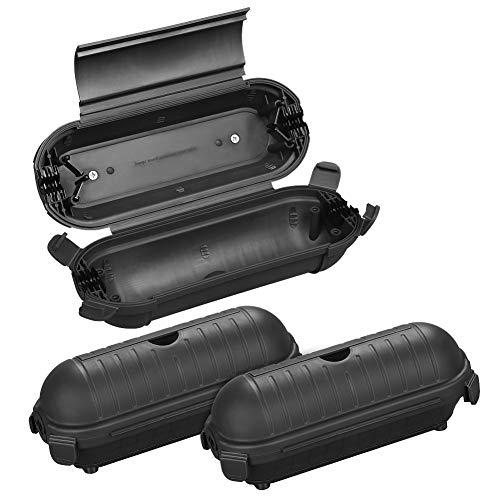 DEWENWILS Safebox mit 4 Klappen, 3er Schutzbox für außen Verlängerungskabel bis 12mm, IP44 Sicherheitsbox, Geräumige Schutzkapsel für Kabel und und Stecker der Weihnachtsdeko, Wandmontage, Schwarz